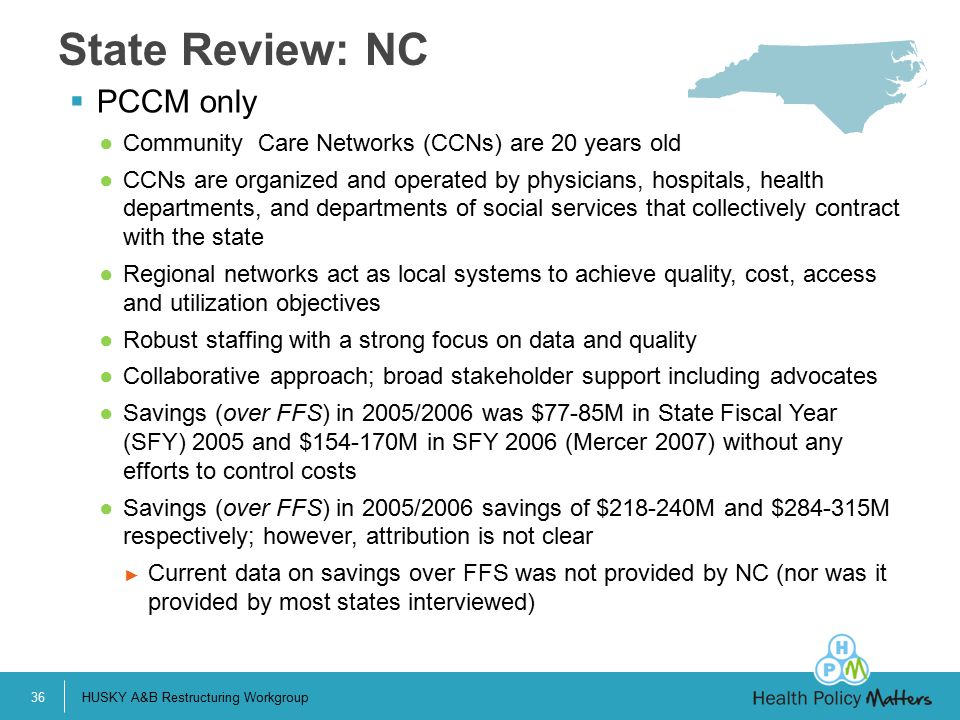 State Review: NC PCCM only