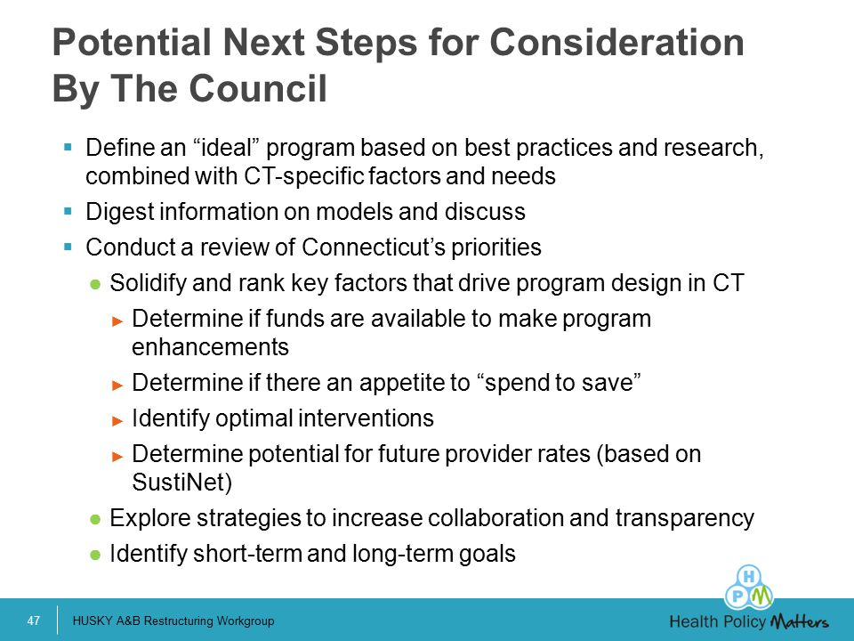 Potential Next Steps for Consideration By The Council