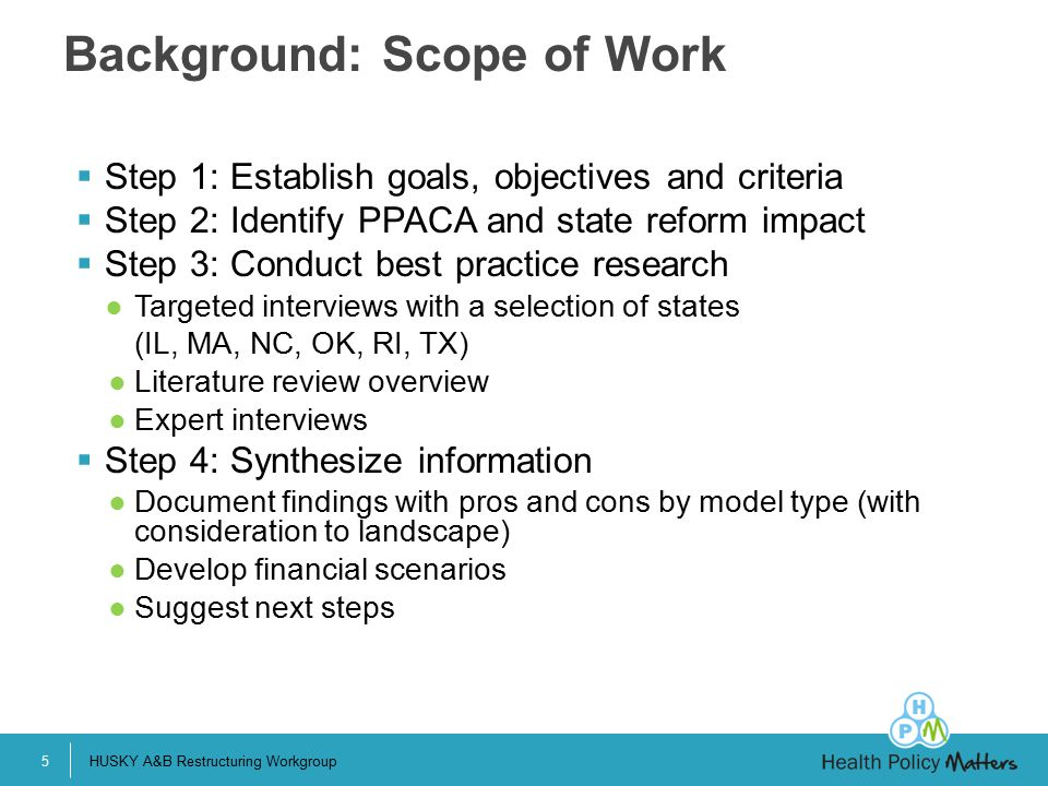 Background: Scope of Work