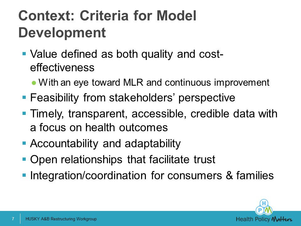 Context: Criteria for Model Development