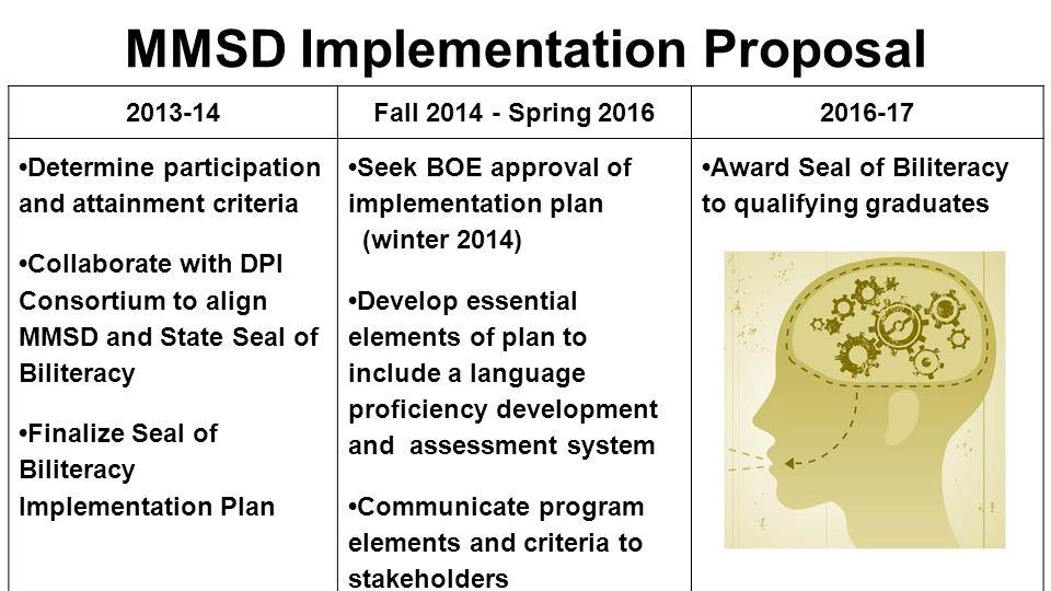 MMSD Implementation Proposal