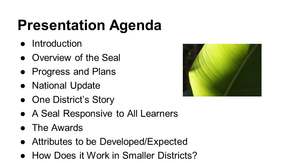 Presentation Agenda Introduction Overview of the Seal