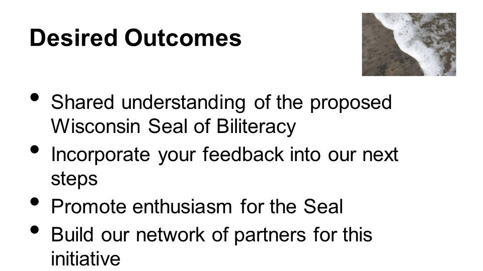 Desired Outcomes Shared understanding of the proposed Wisconsin Seal of Biliteracy. Incorporate your feedback into our next steps.