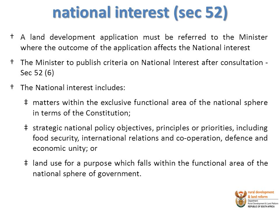 national interest (sec 52)