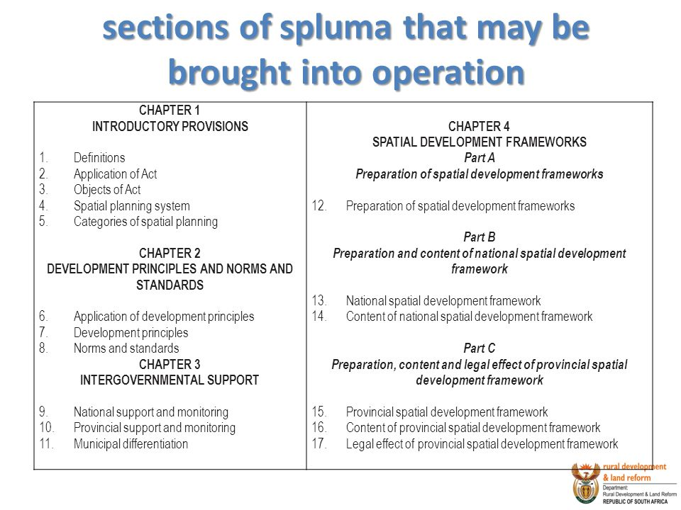 sections of spluma that may be brought into operation