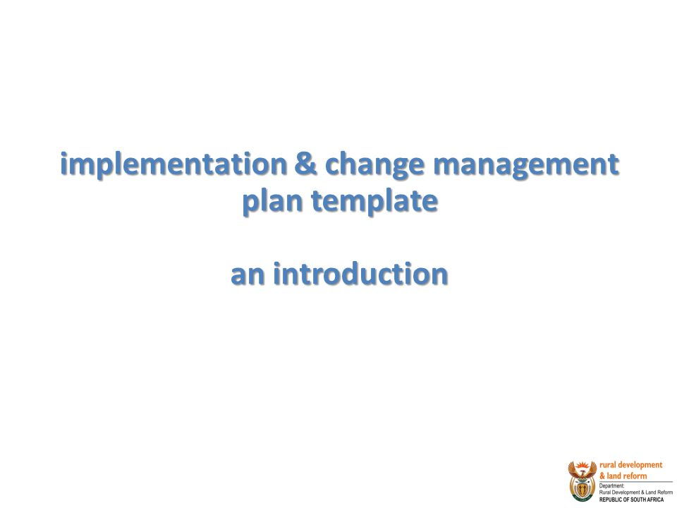 implementation & change management plan template