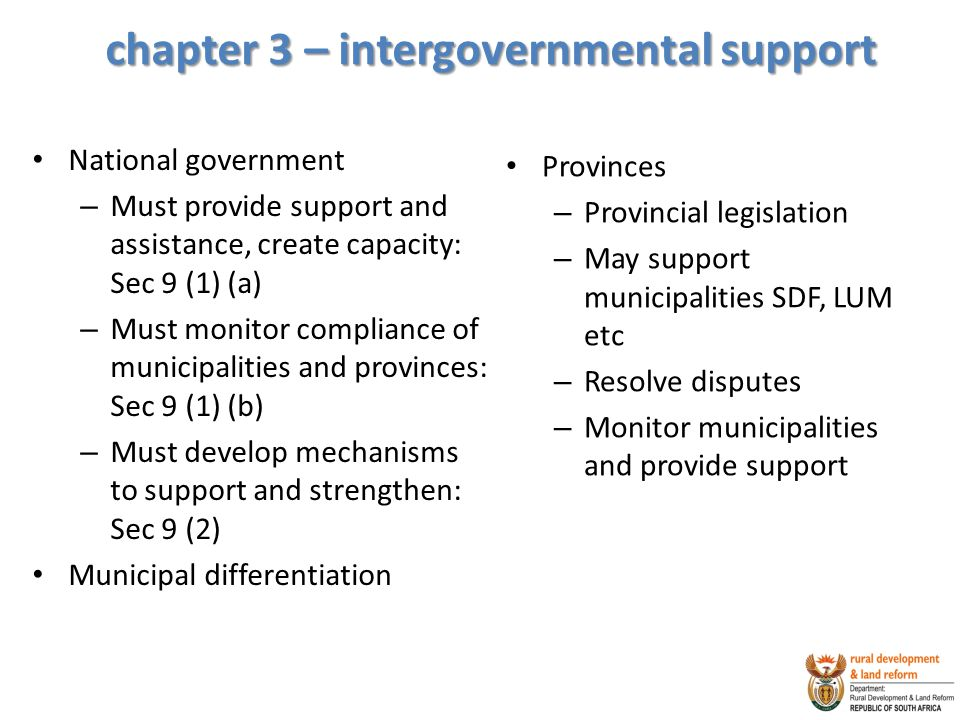 chapter 3 – intergovernmental support
