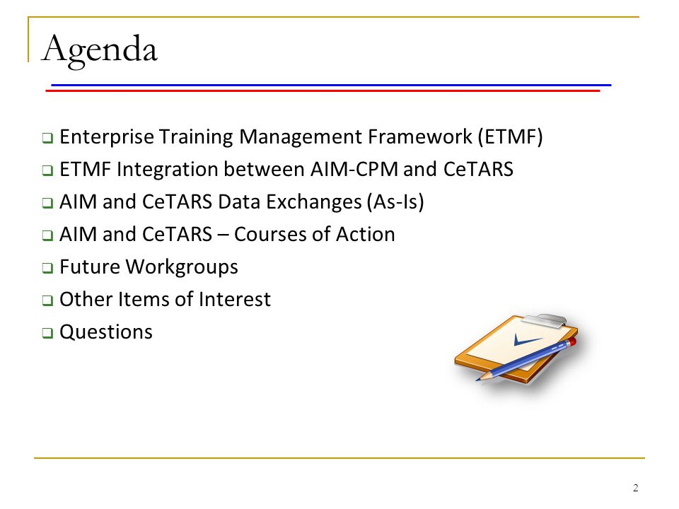 Agenda Enterprise Training Management Framework (ETMF)