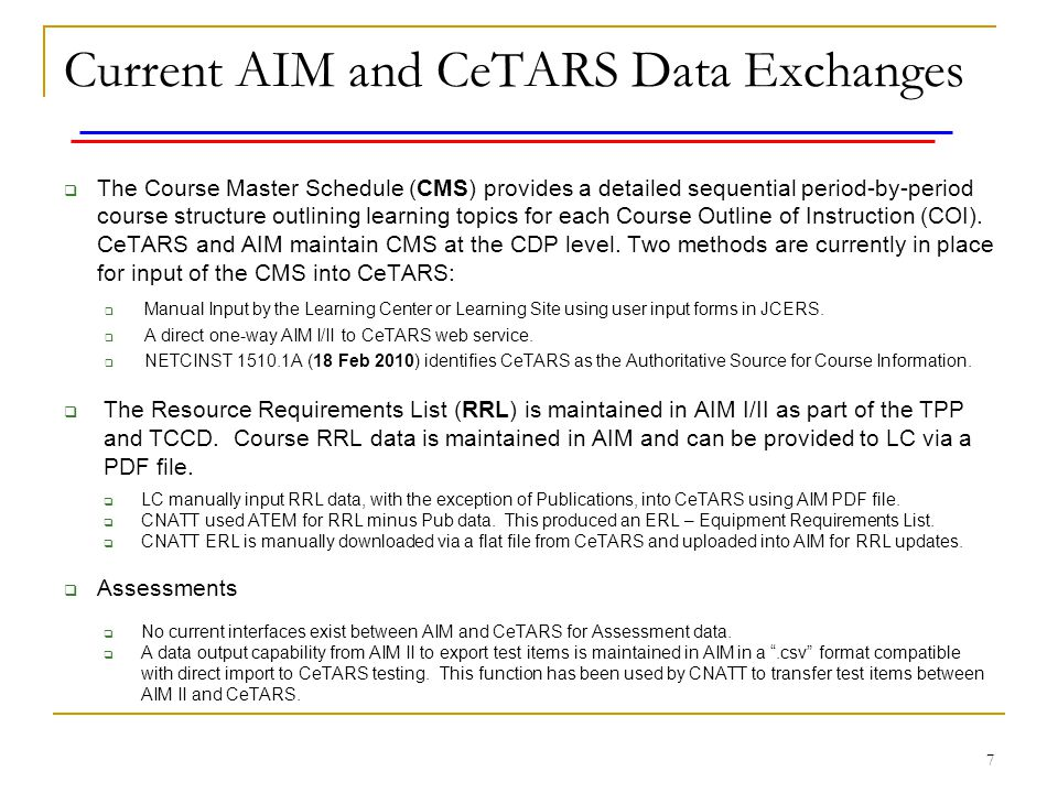 Current AIM and CeTARS Data Exchanges