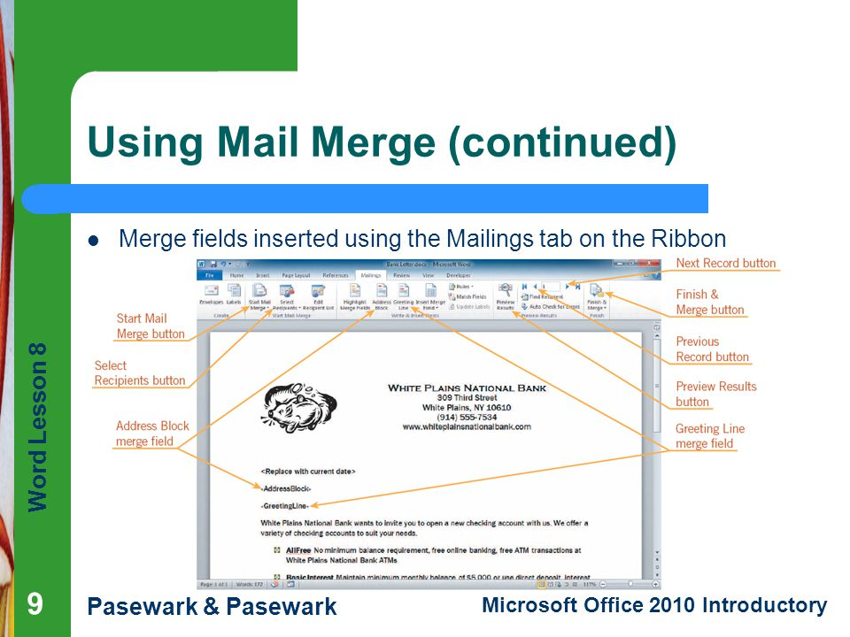 Using Mail Merge (continued)