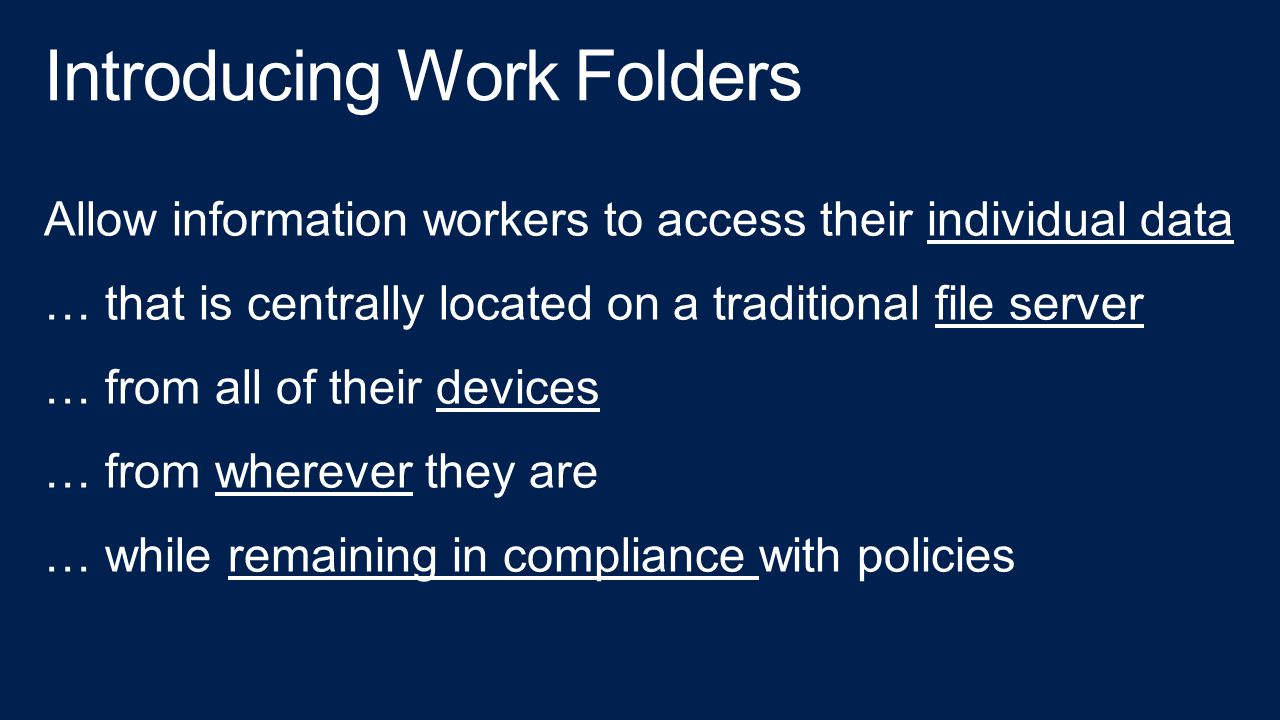Introducing Work Folders