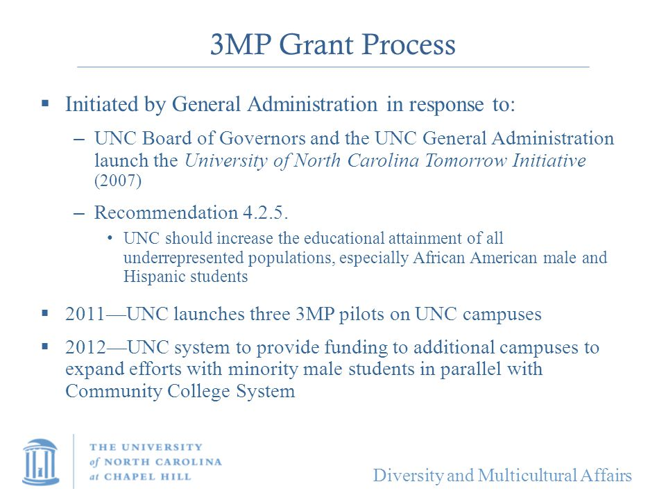 3MP Grant Process Initiated by General Administration in response to: