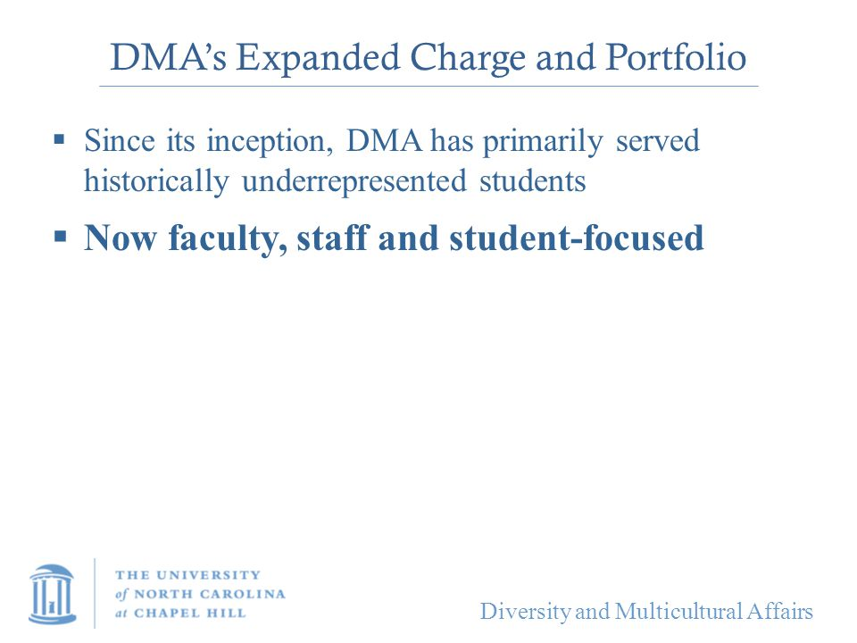 DMA's Expanded Charge and Portfolio