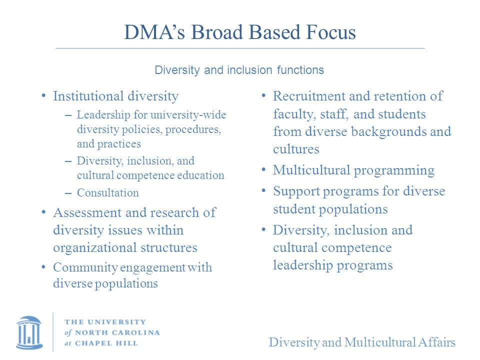 DMA's Broad Based Focus