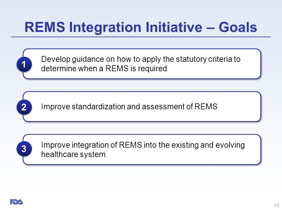 REMS Integration Initiative – Goals