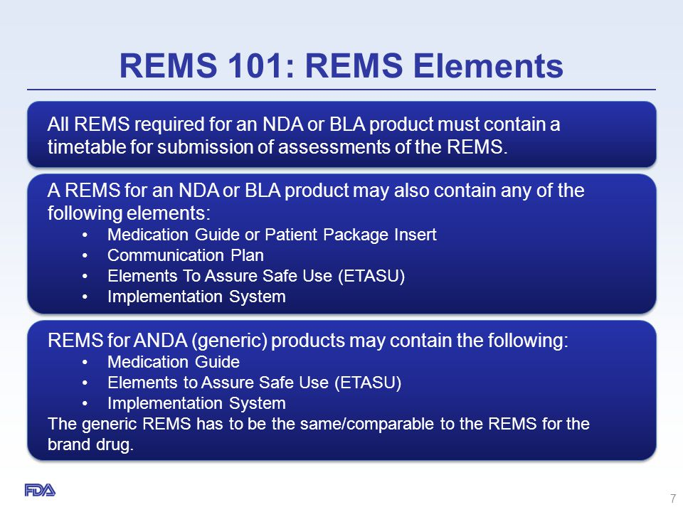 REMS 101: REMS Elements All REMS required for an NDA or BLA product must contain a timetable for submission of assessments of the REMS.
