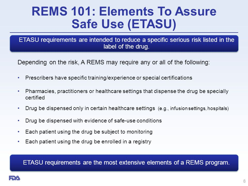 REMS 101: Elements To Assure Safe Use (ETASU)