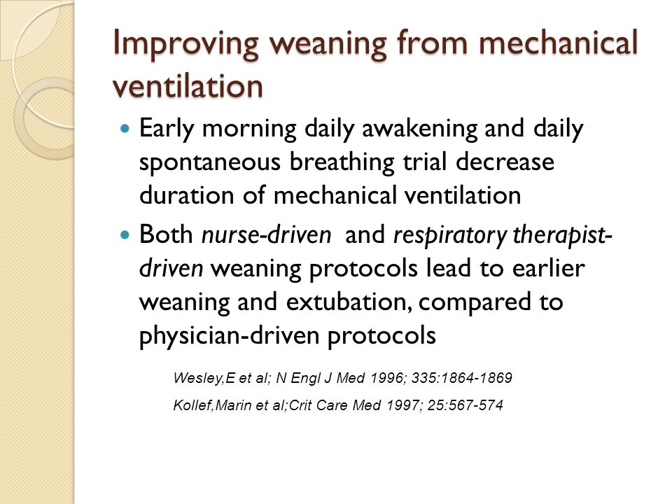 Improving weaning from mechanical ventilation