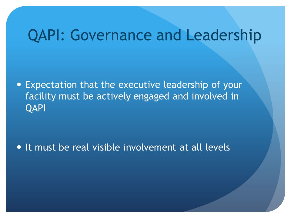 QAPI: Governance and Leadership