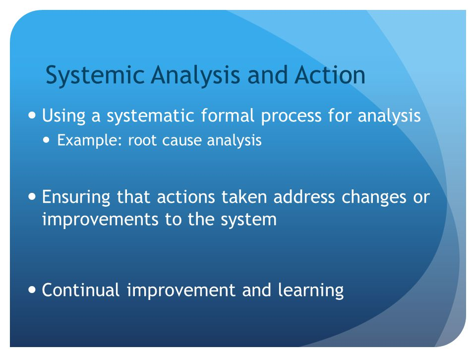 Systemic Analysis and Action