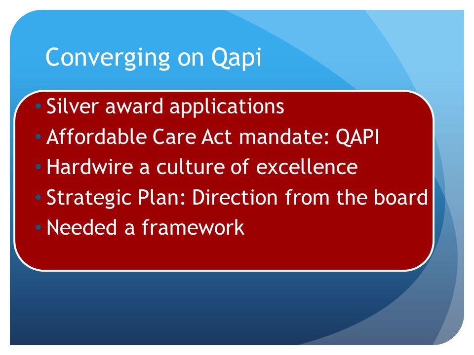 Converging on Qapi Silver award applications