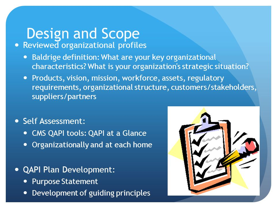 Design and Scope Reviewed organizational profiles Self Assessment: