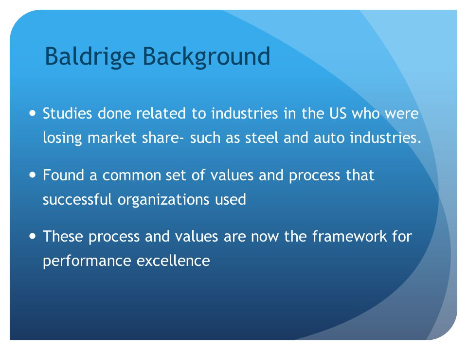 Baldrige Background Studies done related to industries in the US who were losing market share- such as steel and auto industries.