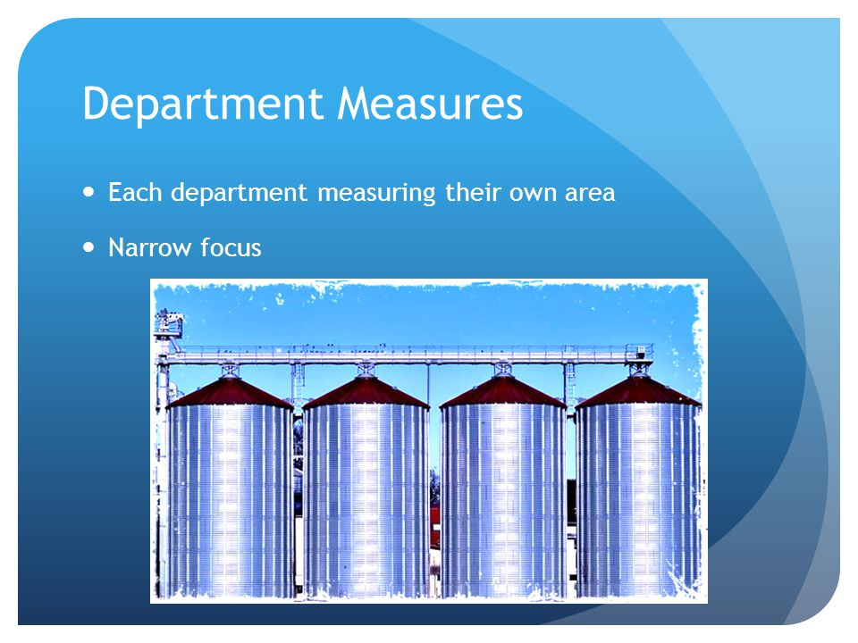 Department Measures Each department measuring their own area