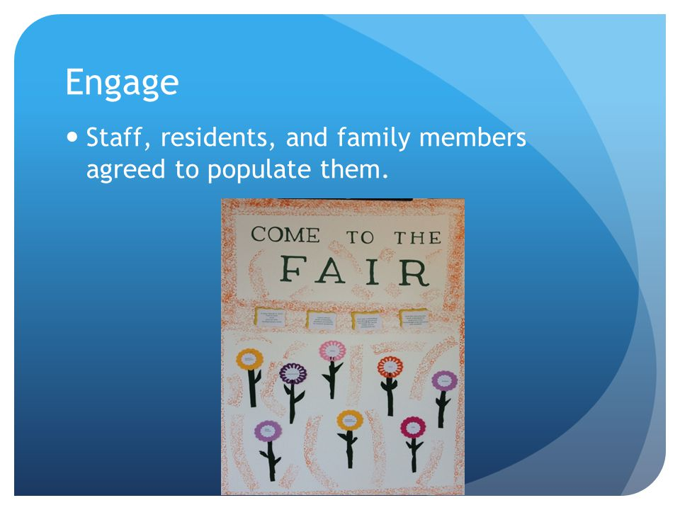 Engage Staff, residents, and family members agreed to populate them.