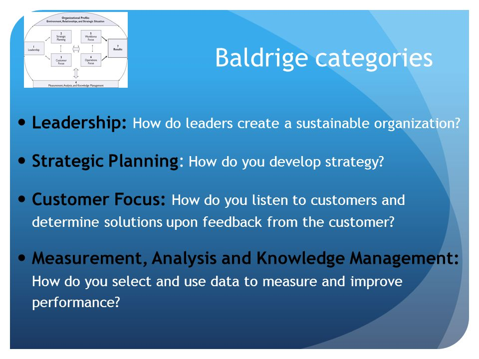 Baldrige categories Leadership: How do leaders create a sustainable organization Strategic Planning: How do you develop strategy