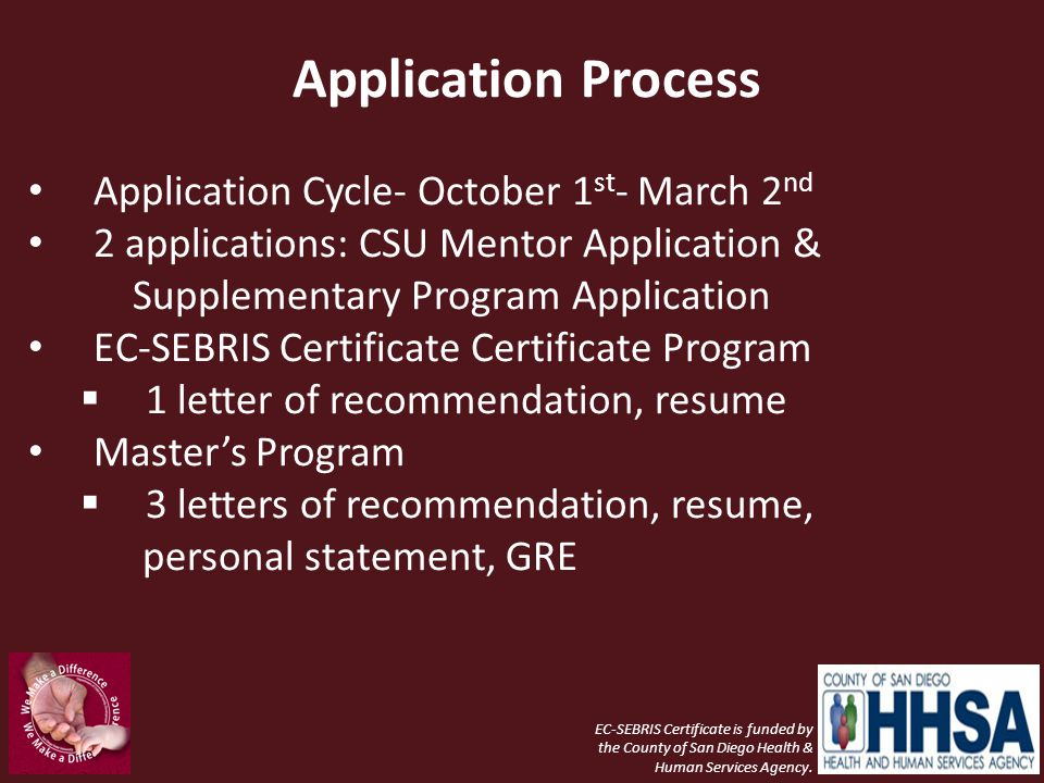 Application Process Application Cycle- October 1st- March 2nd