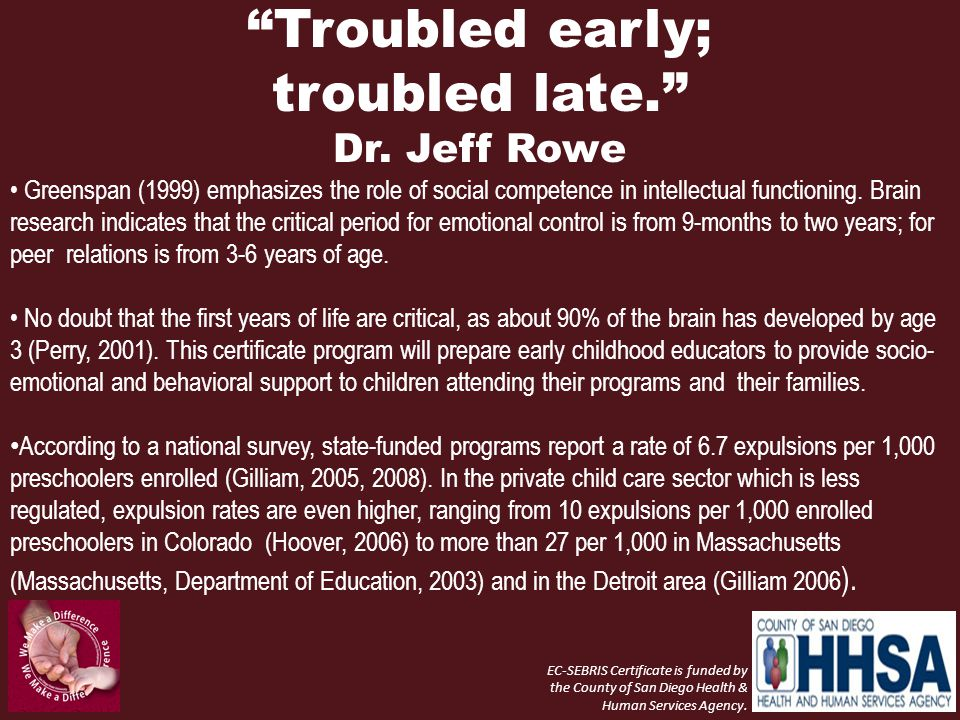 Troubled early; troubled late. Dr. Jeff Rowe