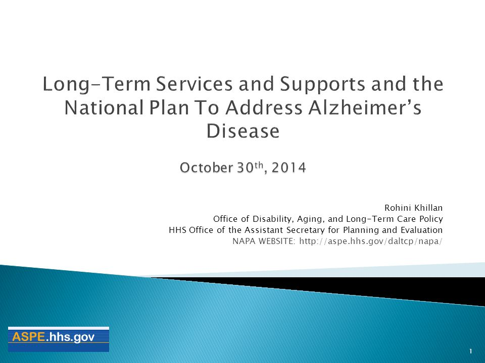 Long-Term Services and Supports and the National Plan To Address Alzheimer's Disease October 30th, 2014