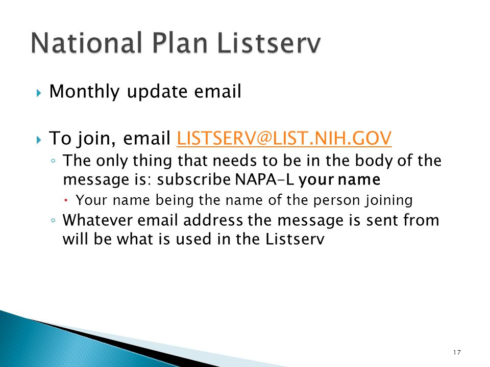 National Plan Listserv