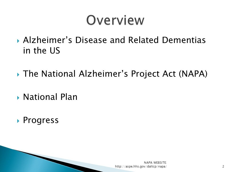 Overview Alzheimer's Disease and Related Dementias in the US
