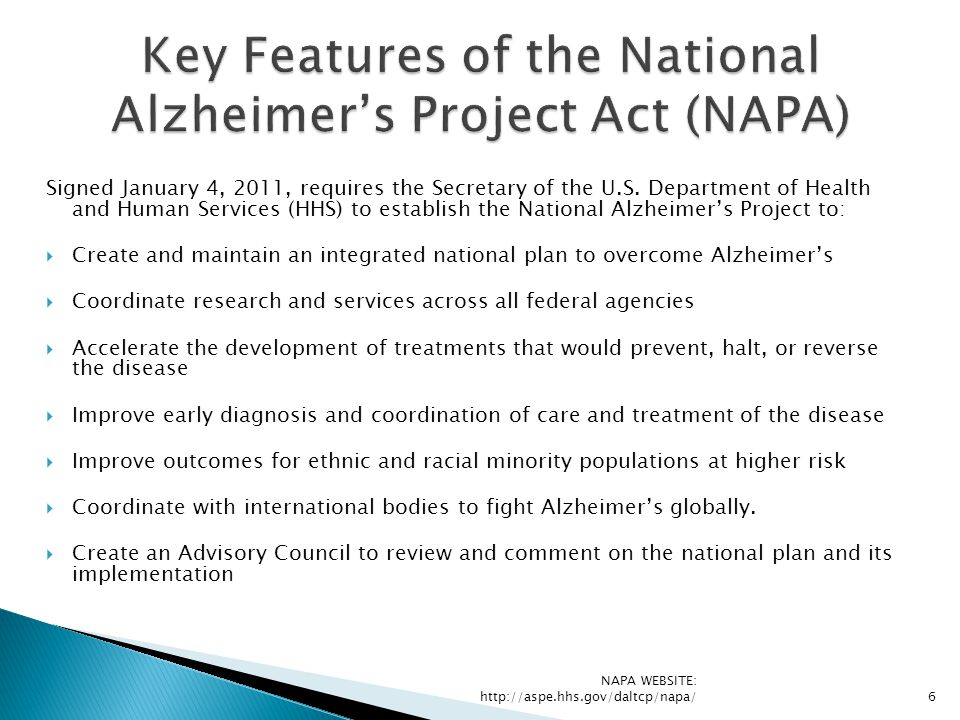 Key Features of the National Alzheimer's Project Act (NAPA)