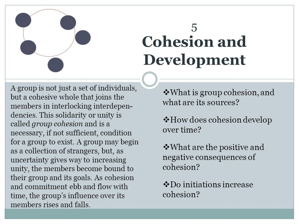 5 Cohesion and Development
