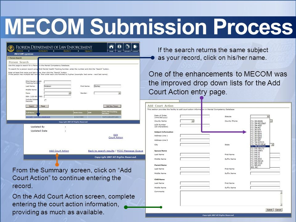 MECOM Submission Process