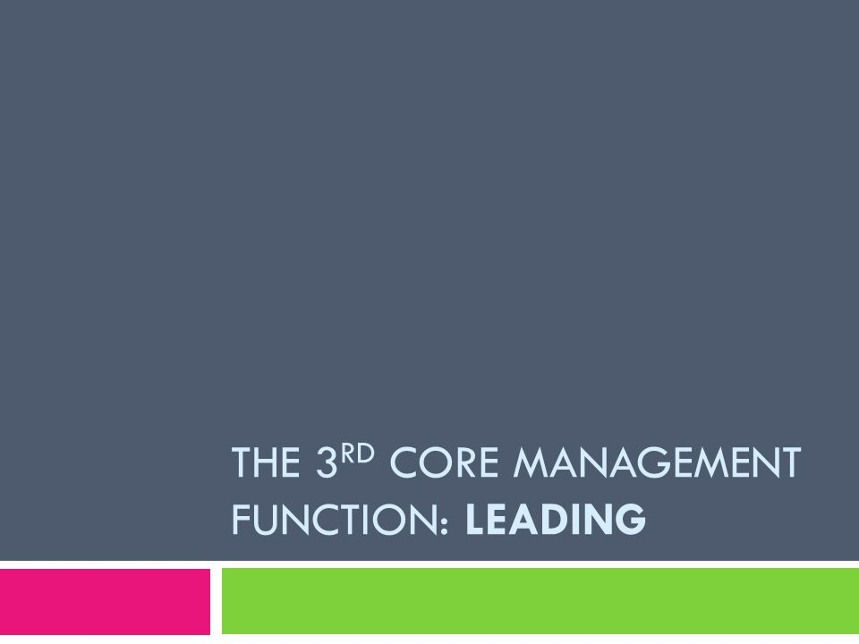 The 3rd core management function: Leading