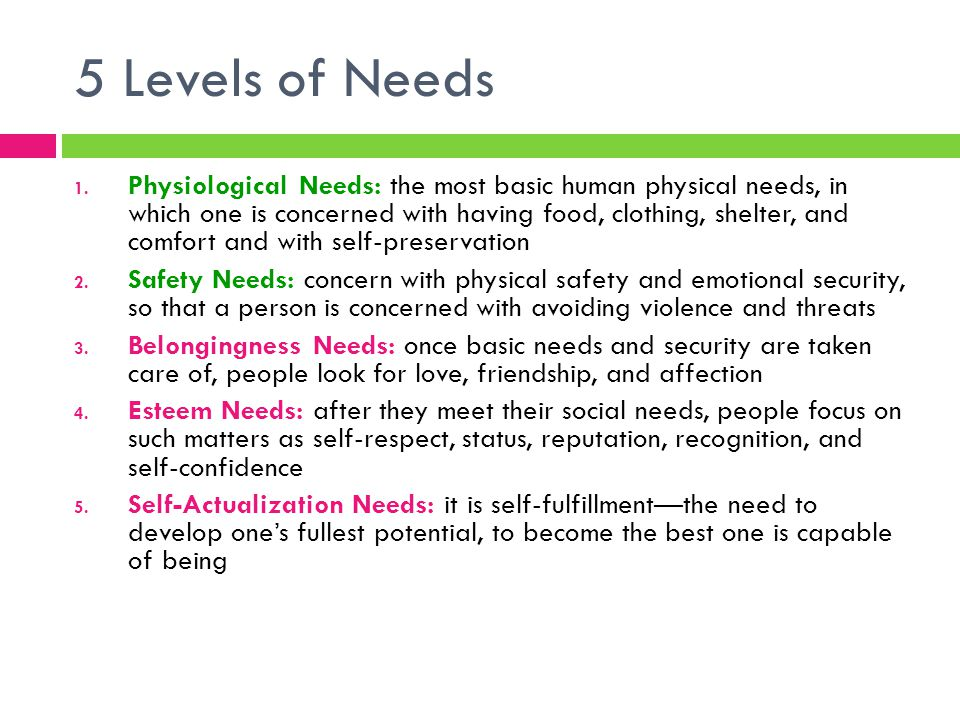 5 Levels of Needs