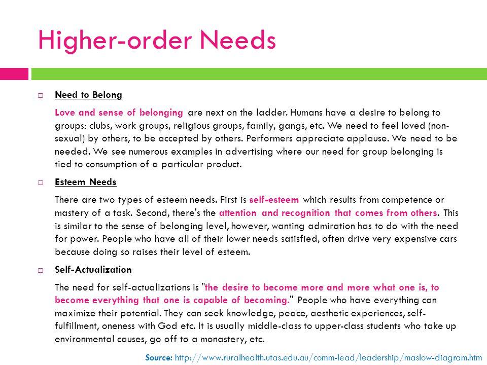 Higher-order Needs Need to Belong