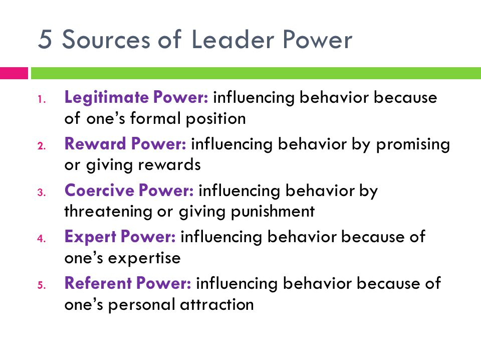 5 Sources of Leader Power