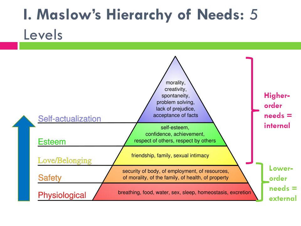 I. Maslow's Hierarchy of Needs: 5 Levels