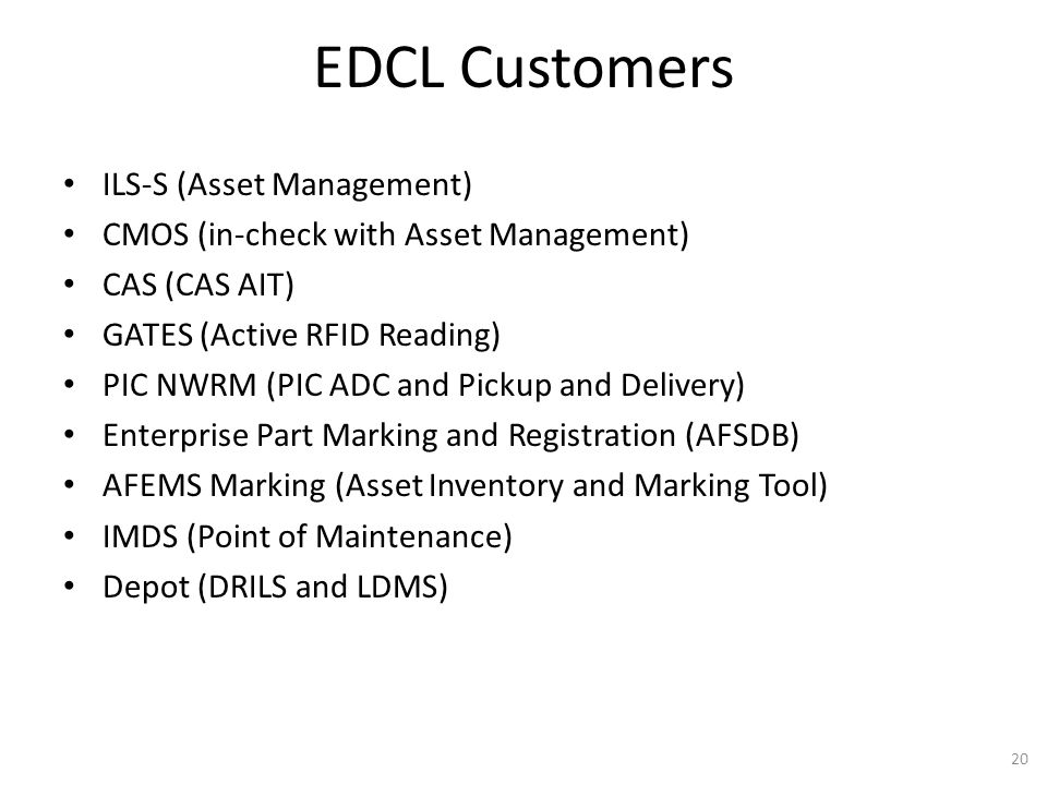 EDCL Customers ILS-S (Asset Management)