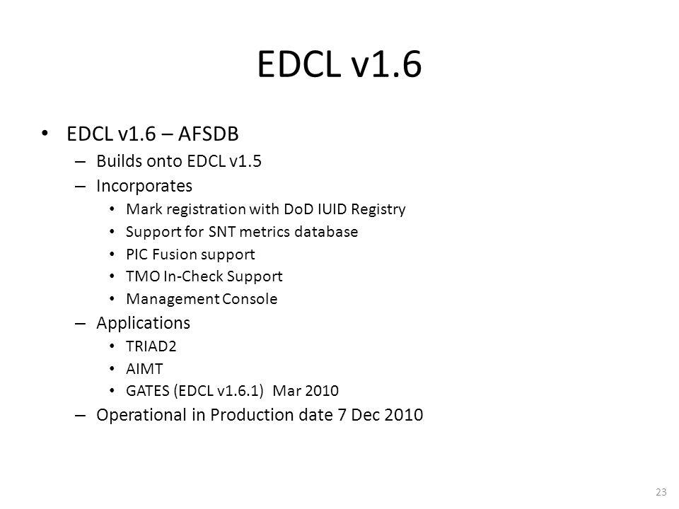 EDCL v1.6 EDCL v1.6 – AFSDB Builds onto EDCL v1.5 Incorporates