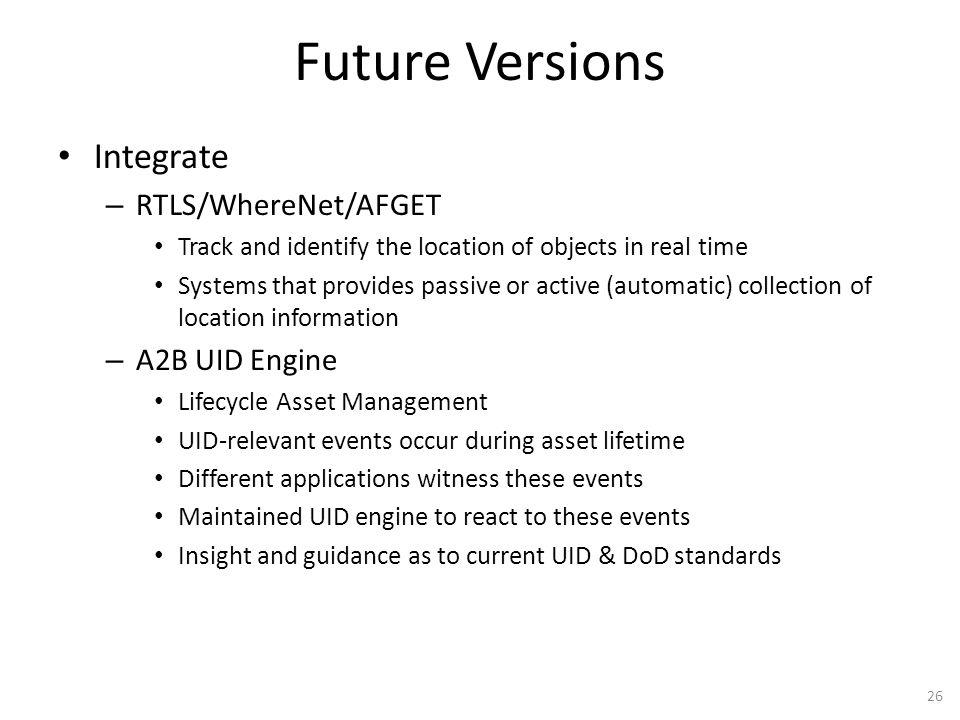 Future Versions Integrate RTLS/WhereNet/AFGET A2B UID Engine
