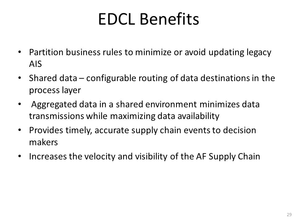 EDCL Benefits Partition business rules to minimize or avoid updating legacy AIS.