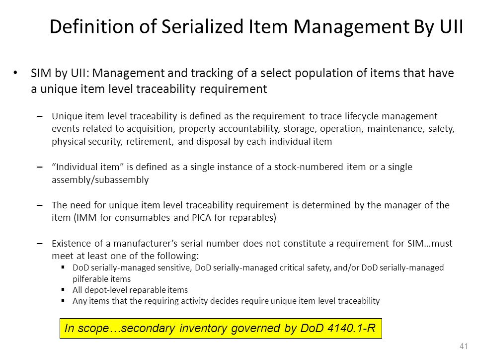 Definition of Serialized Item Management By UII