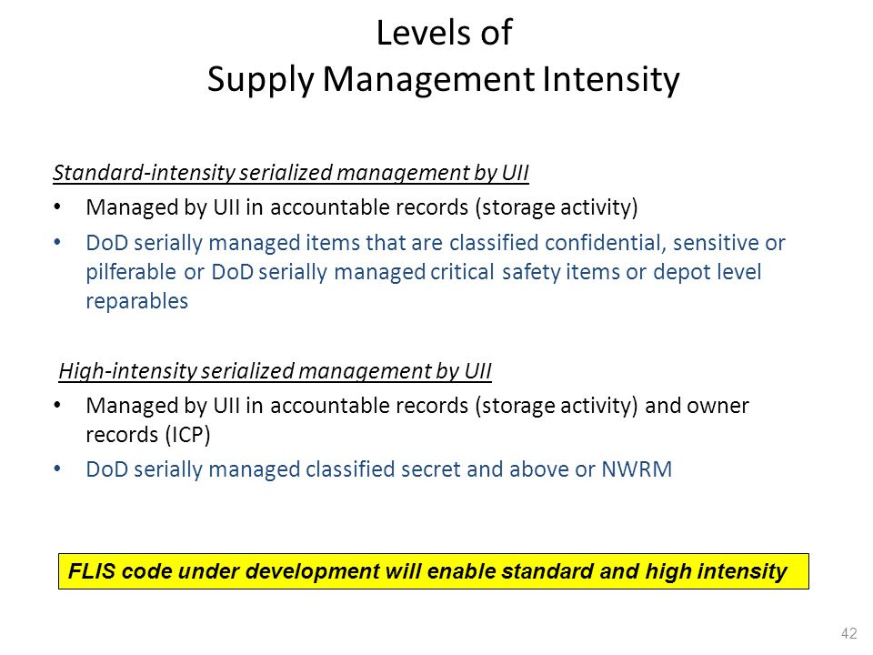 Levels of Supply Management Intensity
