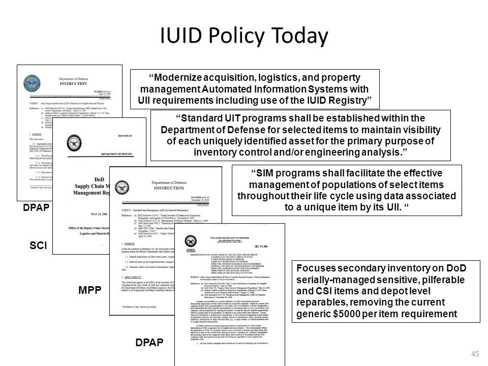 IUID Policy Today SCI MPP DPAP